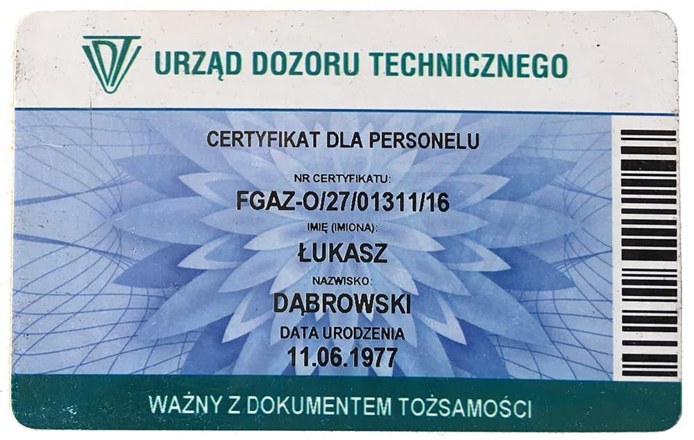 Certyfikat UDT ESP SERWIS