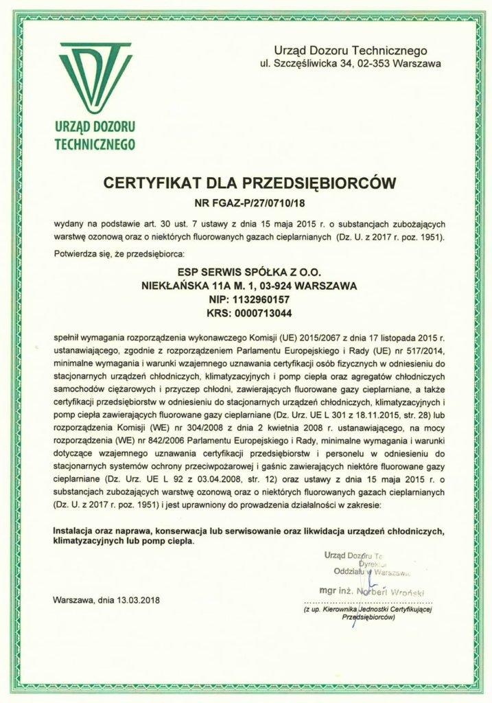 Certyfikat UDT F-Gazy - ESP Serwis
