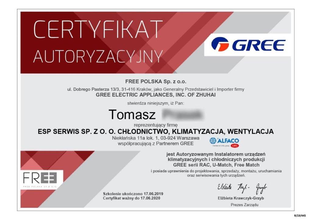 certyfikat klimatyzacja gree esp serwis