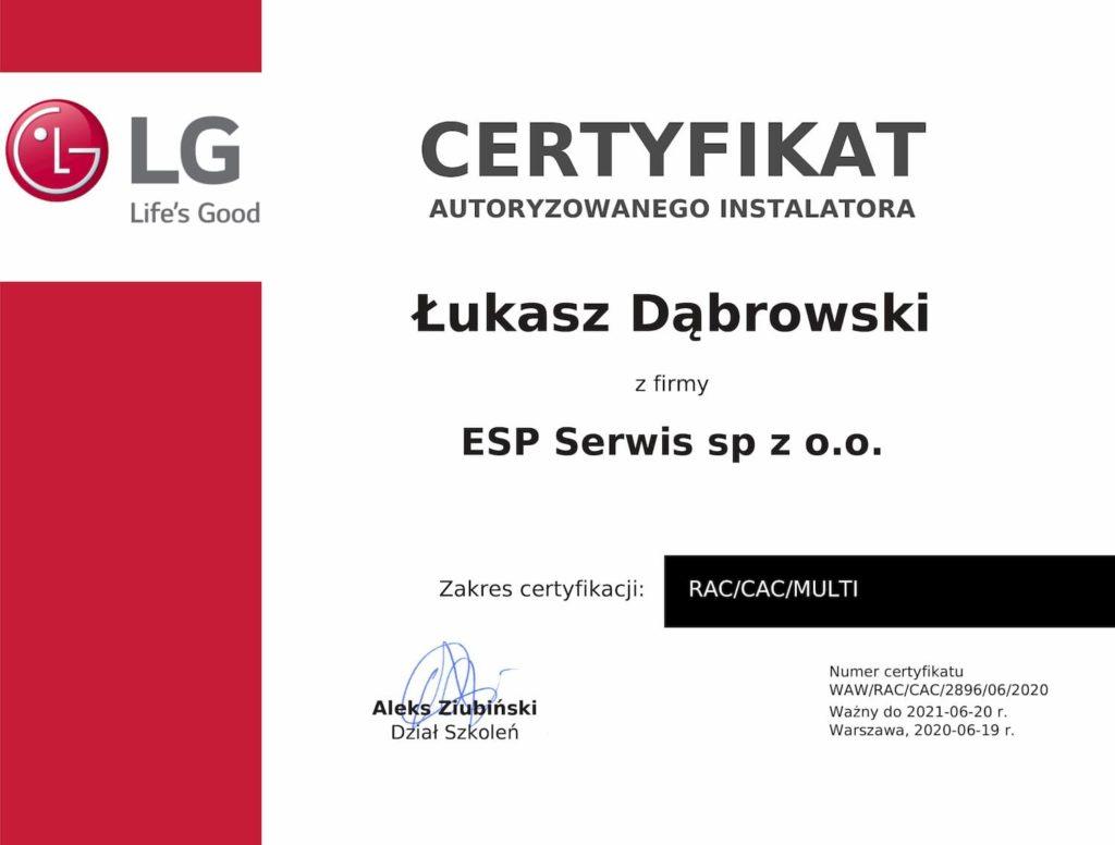 certyfikat klimatyzacja LG