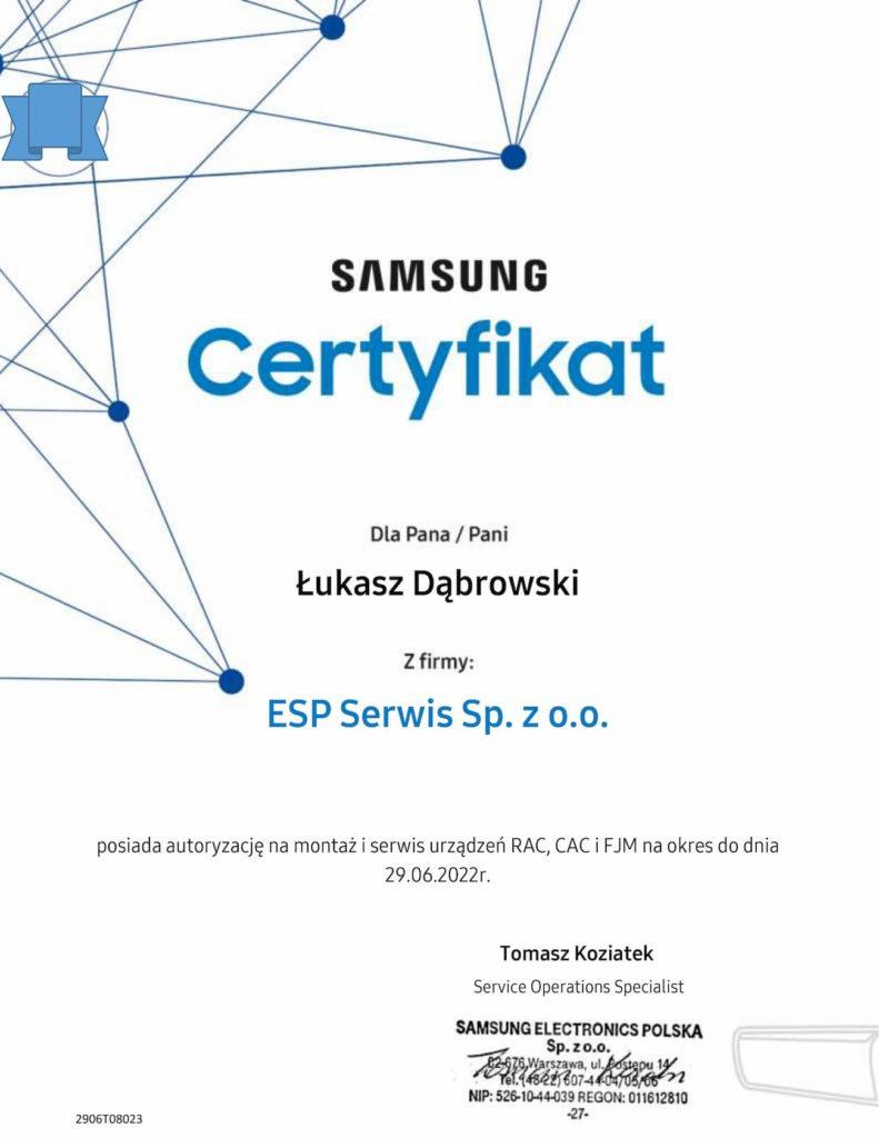 certyfikat klimatyzacja Samsung